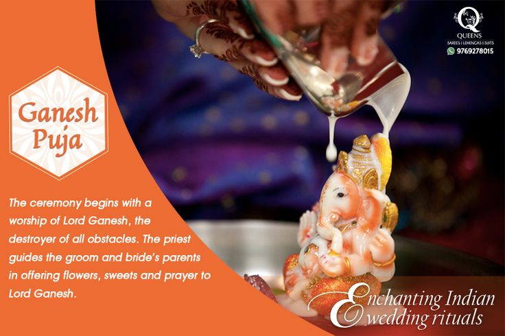 The ceremony begins with a worship of Lord Ganesha, the destroyer of all obstacles . #QueensEmporium #EnchantingIndianRituals