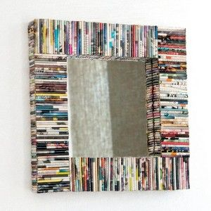 DIY: don't know what to do with all those movie cases,cd cases,or books? allign them into a unique-to-you mirror or wall decor!