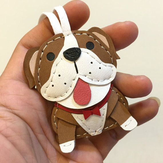 Small size  Audrey the English Bulldog cowhide leather charm