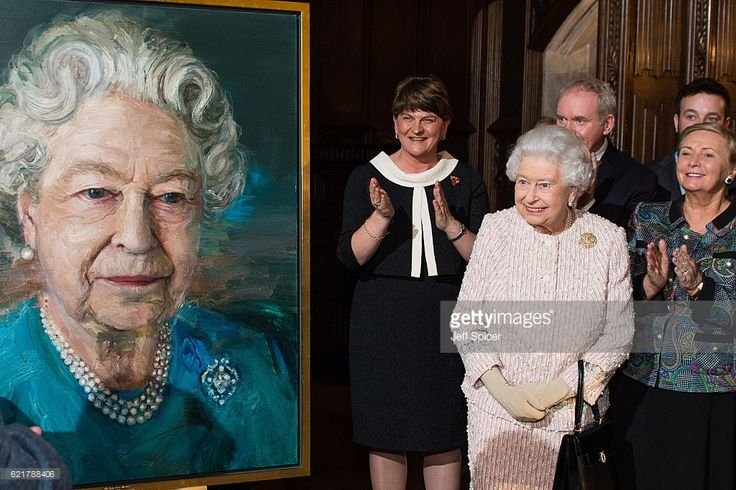 (L-R) Arlene Foster, First Minister of Northern Ireland, Queen Elizabeth II, Martin McGuinness, Deputy First Minister of Northern Ireland) and Frances Fitzgerald, Minister of Justice and Equality Gov of Ireland, attend a Co-Operation Ireland Reception at Crosby Hall on November 8, 2016 in London, England. During the reception The Queen unveiled a portrait of herself by artist Colin Davidson  (Photo by Jeff Spicer - WPA Pool/Getty Images)