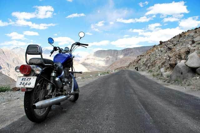 The bike on Ladakh roads. What can be a much better experience!