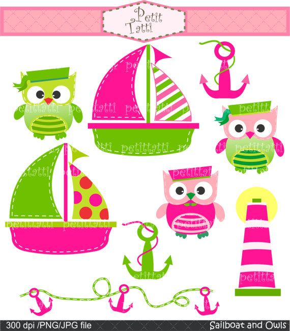 owl clip art , Digital clip art  for all use, Sailboat and owls 3 , hot pink and green , INSTANT DOWNLOAD Digital clip art