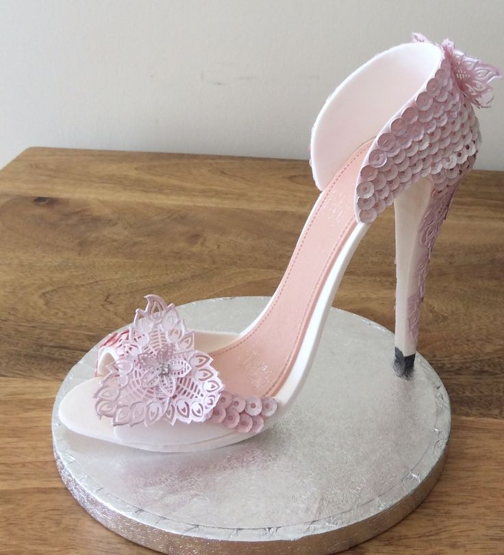 Lace and sequin gumpaste high heel shoe