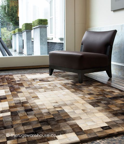 Jam Craft Brown Rug (handmade, cowhide leather) - save 35% in our Christmas Sale http://www.therugswarehouse.co.uk/leather-rugs/jam-craft-brown-rug.html #rugs #interiors #luxury