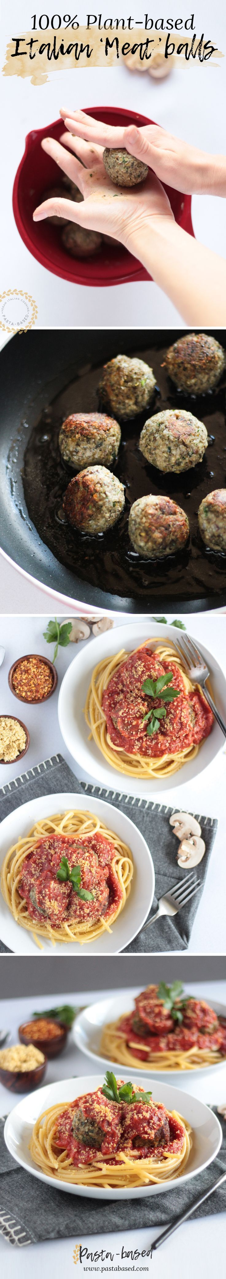 Spaghetti and vegan meatballs • A traditional Italian dish made from plant-based ingredients
