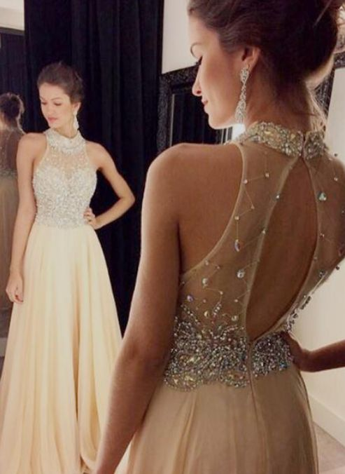 A-Line Prom Dress, Sexy Prom Dresses, Long Prom Dresses,High Neck Chiffon Prom Dress,Floor-Length Prom/Evening Dress with Beaded,111043039