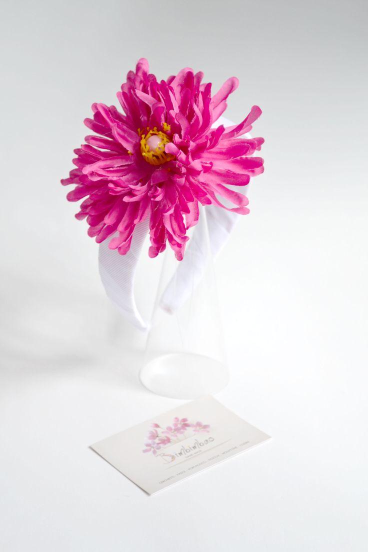 cerchietto hairband headband linea flowers fiore faux con perla rosa