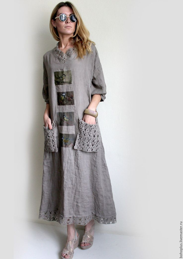 """Купить Платье из льна """" Прогулки по городу"""" - коричневый, однотонный, одежда для…"""