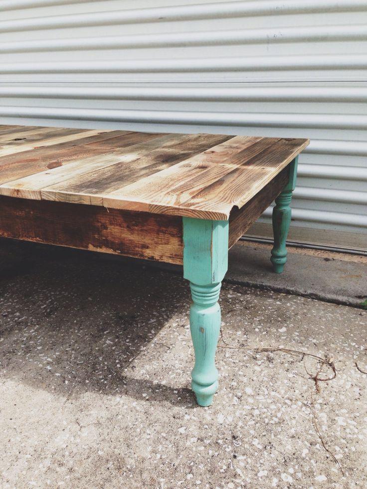 Reclaimed Barn Wood Coffee Foyer Sofa Table. Turquoise Jade Green Blue Legs  Modern Farm Industrial