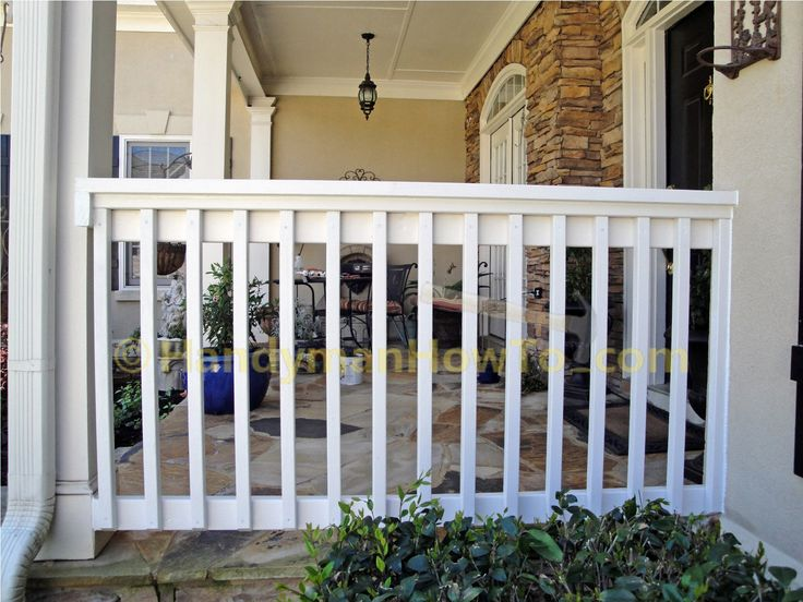 This project shows how to build a 2x6 porch rail from scratch with photos. Mount the top rail, install the 2x4 side rail and 2x2 pickets.