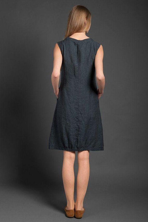 e662e2a75027 Linen women dress, Pure linen dress, Dark grey dress, Spring, Summer ...