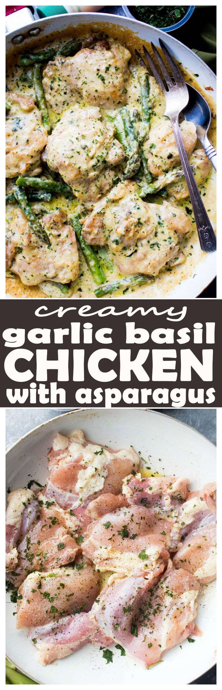 Creamy Garlic Basil Chicken with Asparagus - This delicious and cream-less Creamy Garlic Basil Chicken is prepared in a skillet with a flavorful garlicky basil sauce and asparagus spears. #GourmetGarden #ad