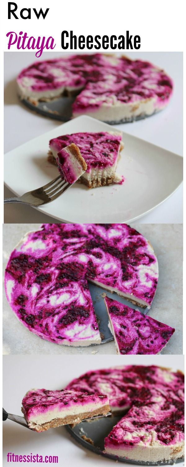 Homemade raw pitaya cheesecake - soaked cashews give this raw cheesecake an amazingly cheese-like texture and pitaya is low in sugar, high in antioxidants and has beautiful color! fitnessista.com