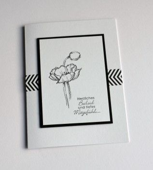 handmade card from Beileidskarten 2015 ... black and white ... luv how she placed two strips of washi tape to make a chevron pattern ... Stampin' Up!