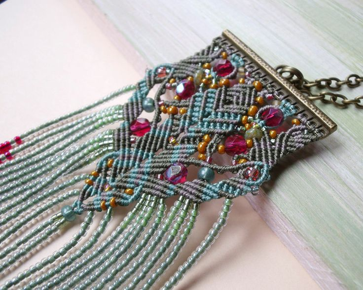 Bohemian macrame necklace, boho chic - micro macrame, sage burgundy sepia, unique OOAK tassel fringe pendant ____  This lovely micro macrame