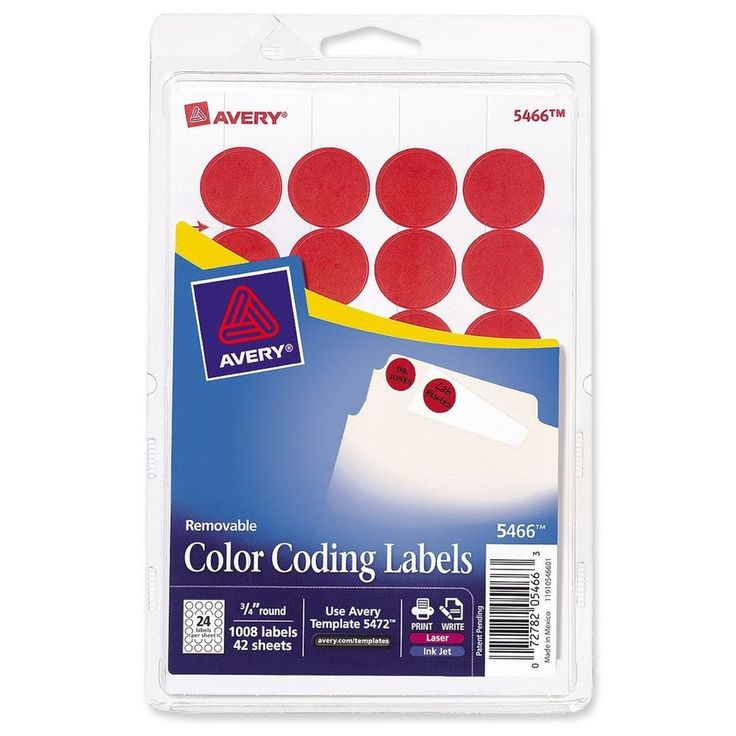 Avery Print/Write Self-Adhesive Removable Labels 0.75 Inch Diameter Red 1008 ... #Avery