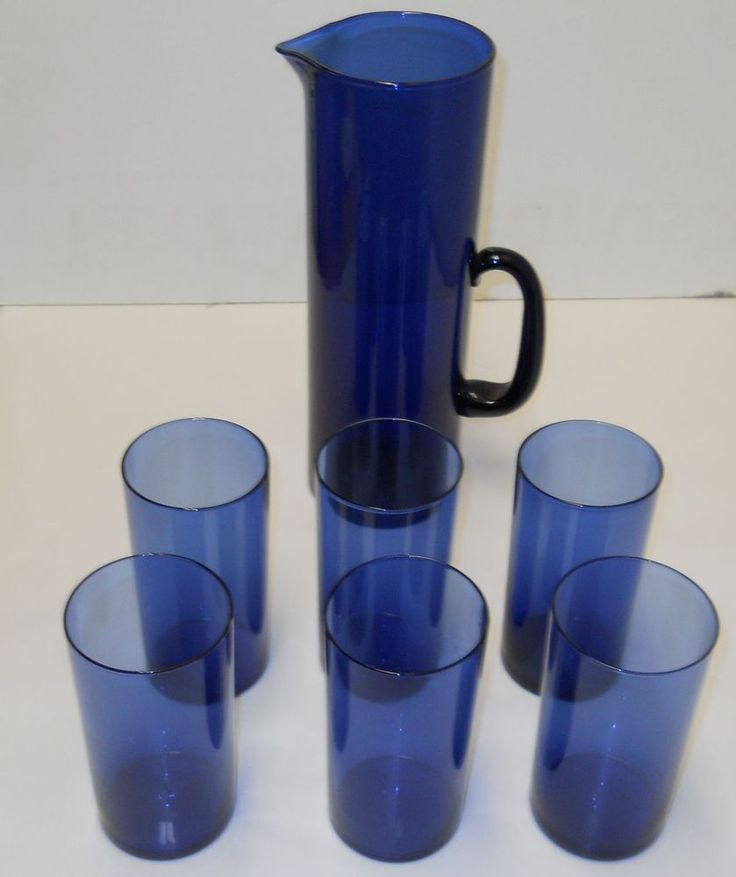 Sarpaneva Timo Vintage 1959 Blue Glasses And Pitcher I-114 Iittala Finland