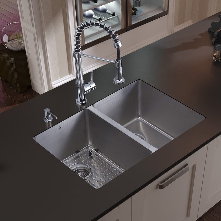 vigo double undermount stainless steel kitchen sink - Undermount Kitchen Sinks