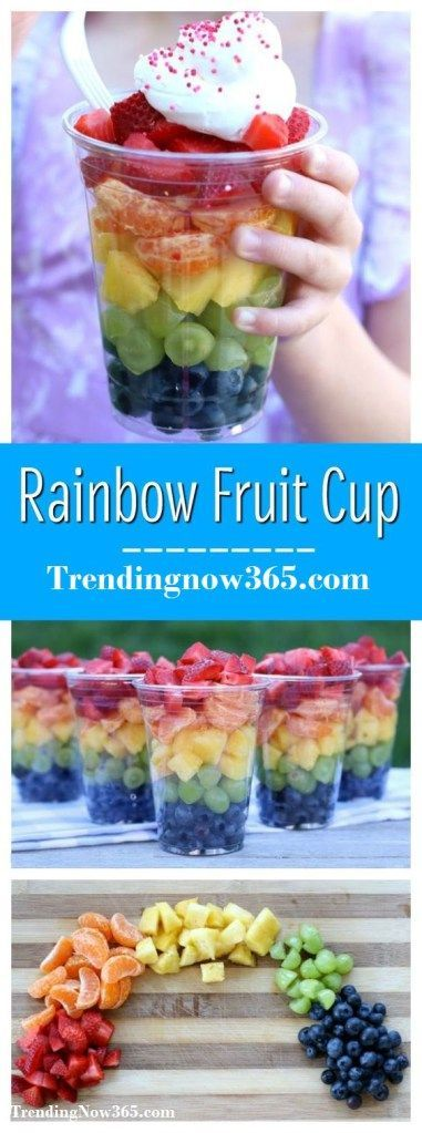 RAINBOW FRUIT CUPS {HEALTHY SNACK FOR CHILDREN} http://www.trendingnow365.com/2017/06/27/rainbow-fruit-cups-healthy-snack-for-children/