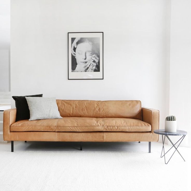 Ledercouch Cognac Tan Leather Sofa, Low Profile Cushions, Square Arms That
