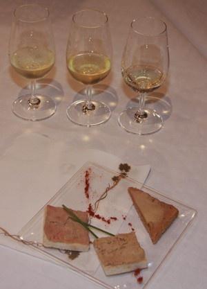 foi gras d'oie sur pain d'épice avec du Pinot gris