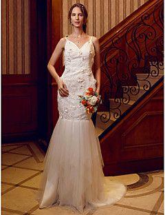 Trompeta+/+Sirena+Cuello+en+V+Larga+Encaje+Tul+Vestido+de+novia+con+Detalles+de+Cristal+Flor(es)+por+LAN+TING+BRIDE®+–+EUR+€+432.38