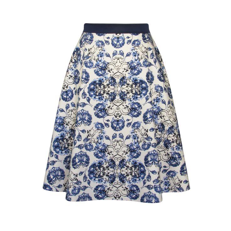 Spódnica w ciekawe biało-niebieskie wzory. Bawełna satynowa z elastanem. Skirt Story