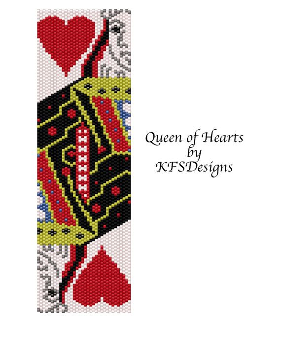 Peyote Bracelet Pattern - Queen of Hearts