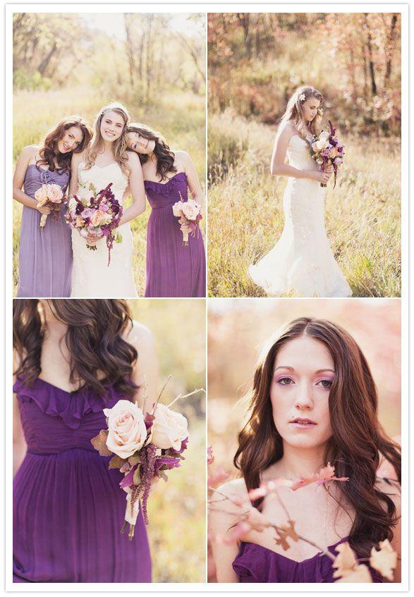 Lavender and plum bridesmaid dresses   100 Layer Cake