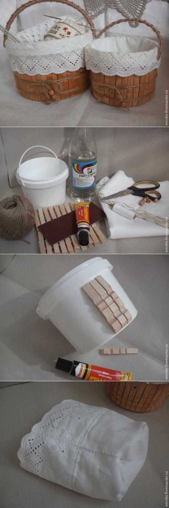 Stilvoller und dekorativer Korb, der die Wiederverwertung mit Plastikeimer macht