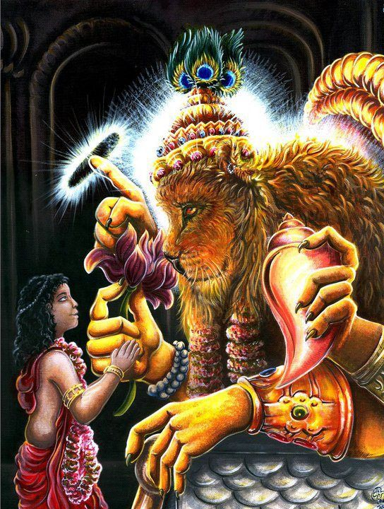 The Story of Narasimha Narasimha kills Hiranyakashipu, as Prahlada and his mother bow before Lord Narasimha. Despite several warnings from his father Hiranyakashipu, Prahlada continues to worship Vishnu. His father tries to poison him, get him trampled by the elephants, and put him in a room with venomous snakes, but Prahlada survives each and every time.After tolerating much abuse from his father Hiranyakashipu, Prahlada is eventually saved by Vishnu by Narasimha, the man-lion avatar.