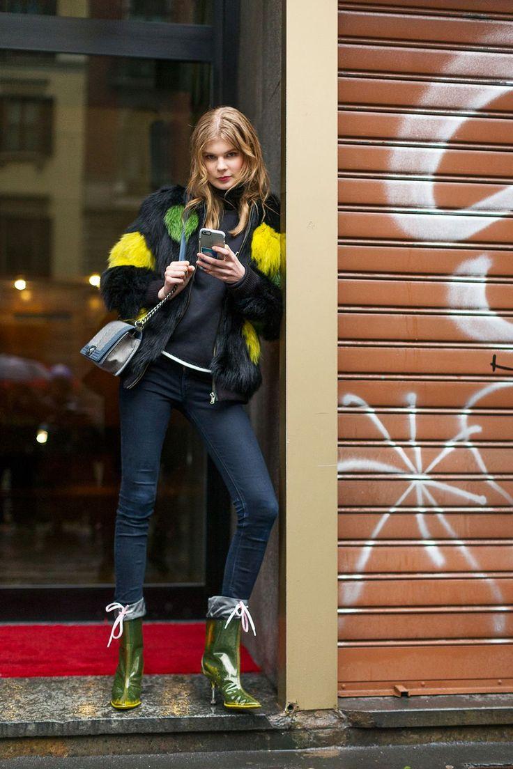 Best Milan Fashion Week Street Style Fall 2016 - Milan Street Style, yellow and green neon faux fur jacket, bright faux fur jacket,