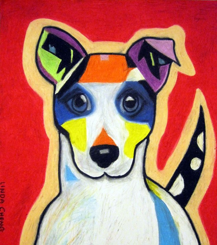 """Rainbow Dog 14""""x17"""" By Linda Cheng Categories: #terrier, #dog, #dogpopart, #dogs, #terrierdog, #dogart, #Terrierpainting, #Terrierdogpainting, #DogPainting, #OilPainting, #ContemporaryArt, #ContemporaryPainting, #OilPastel, #ModernArt, #PopArt, #DogContemporaryPainting, #Animal Painting Official Site: www.linda-cheng.com"""