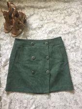 Ann Taylor Loft Green Tweed Skirt Button Wool Blend Size 12