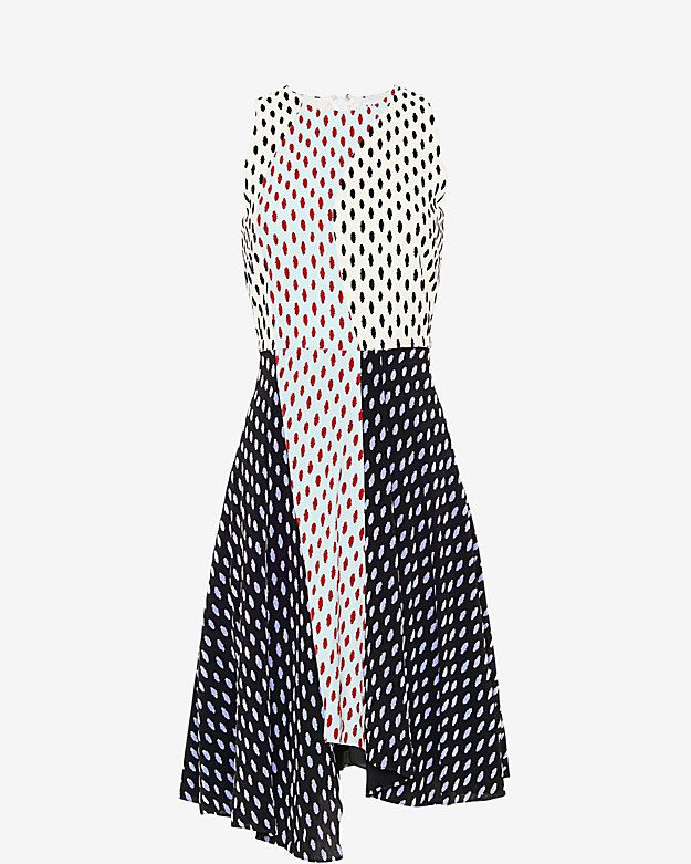 Tanya Taylor Parton Printed Dress: An impressive print to say the least on this flare dress. Sleeveless. FRontal slit at bottom. Back zipper closure. Lined. In white/black.   Fabric: 53% viscose/48% rayon Lining: 100% polyester Model Measurements: Height 5'10; Waist 25 ; Bust 34 wearing ...