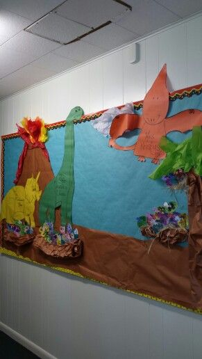 Dinosaur bulletin board teachers name are in the big dinosaurs and the kids names are the little dinosaurs coming out of their eggs