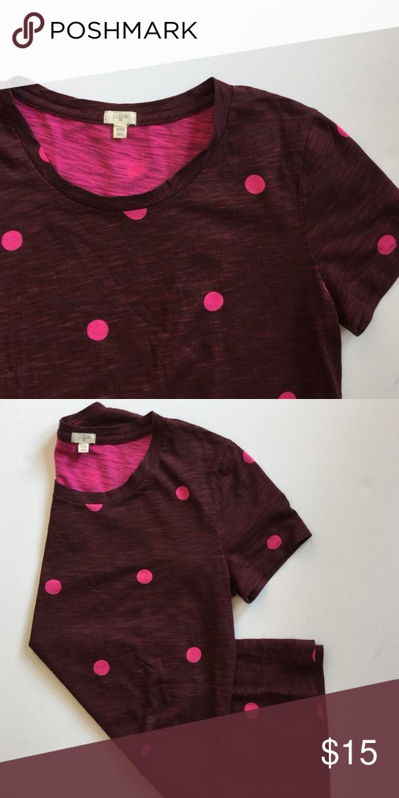 JCrew pink polka dot tee JCrew maroon and pink polka dot short sleeved tee... Listed as size XXS but looks larger J. Crew Tops Tees - Short Sleeve