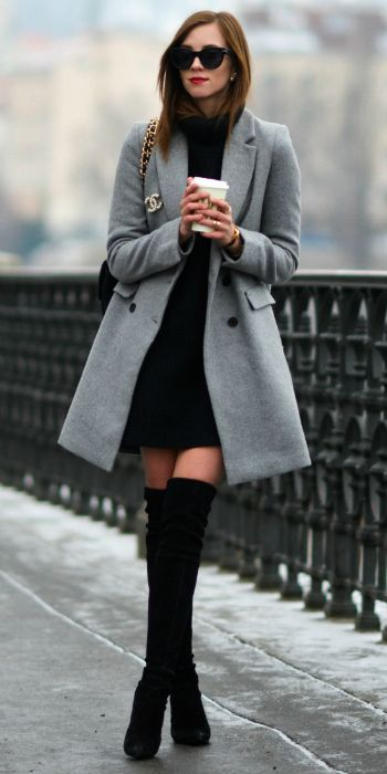 A grey coat + knee-high boots + ultimate feminine outfit + Barbora Ondrackova + great for work or an evening out  Coat: Zara, Dress: H&M, Boots: Stuart Weitzman, Bag: Chanel, Sunglasses: Celine