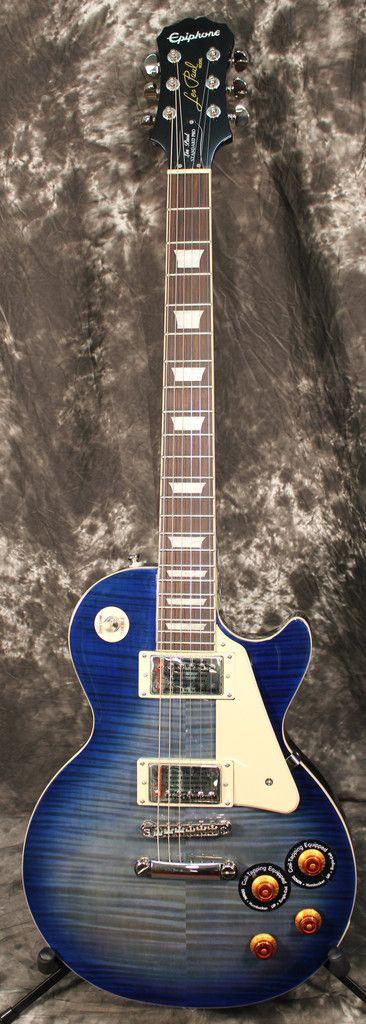 2013 Epiphone Les Paul Standard PlusTop Pro Electric Guitar Used Translucent Blue my guitar