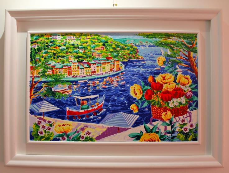 """Athos Faccincani """"Intorno a Portofino le nostre riflessioni e un cesto di fiori"""" 84x54"""