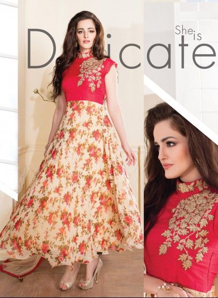Red & yellow maxi style readymade anarkali dress in georgette J15144