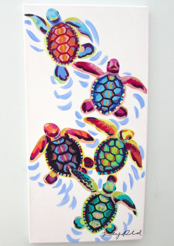 COLORFUL ACRYLIC SEA TURTLES PAINTING  -Hand painted on a 12×24 canvas  A completely original and unique creation that makes for a perfect gift or room decoration! Canvas is attached to 1/2 inch thick wooden frame. It can be hung up as is for a contemporary look or framed to suit your decor. **$5 from every purchase will be DONATED to the Wildlife Conservation Network to protect endangered animals and their habitats**  The artist retains all reproduction rights and copyrights. Feel free to…
