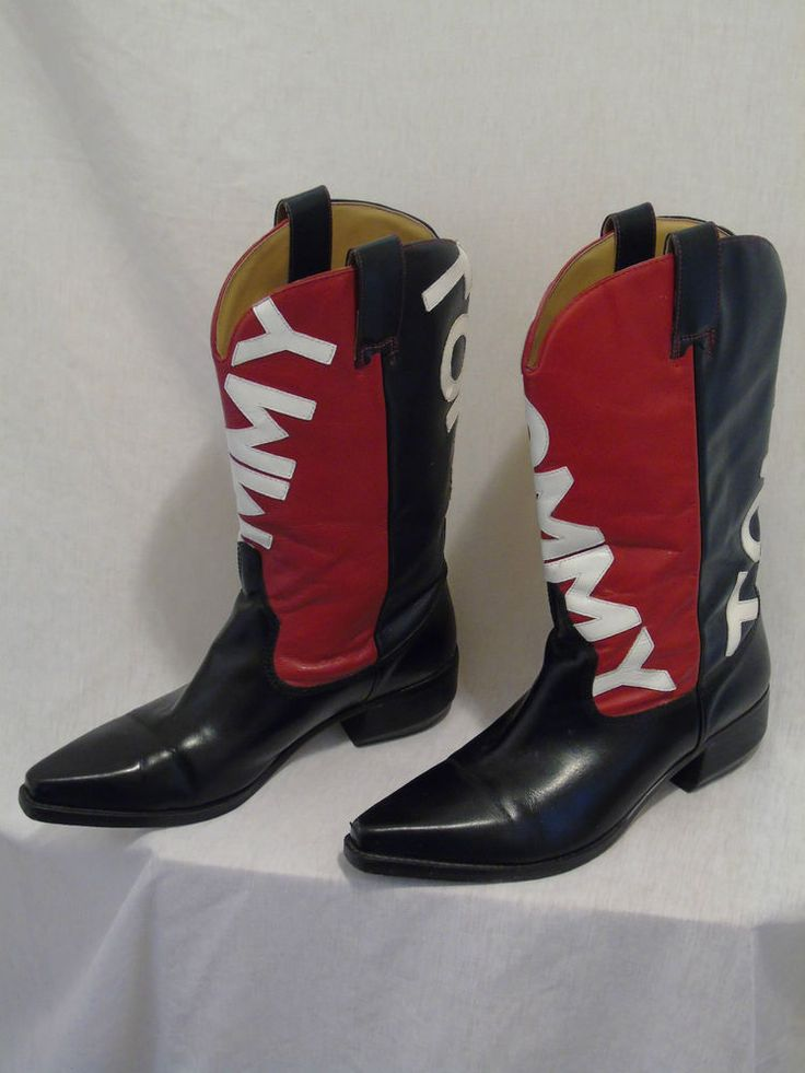 6faf3cb4a24 Womens 10M Tommy Hilfiger Spell Out Leather Cowboy Boots Navy Red ...