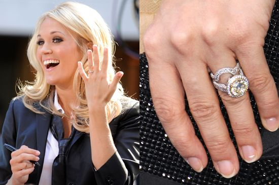 Carrie Underwood is far from shy when it comes to flashing her engagement and wedding rings to photogs. The country belle's husband, Mike Fisher, proposed to Carrie in late 2009 with a huge (five-plus carat), yellow diamond, worth an estimated $150,000.