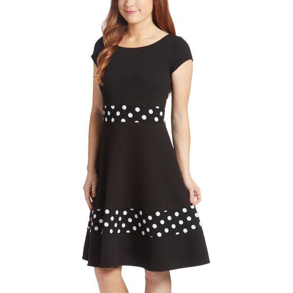 StellaMax Black Polka Dot Fit & Flare Dress ($35) ❤ liked on Polyvore featuring dresses, plus size, women plus size dresses, vintage style dresses, vintage style long dresses, plus size long dresses and polka dot dress