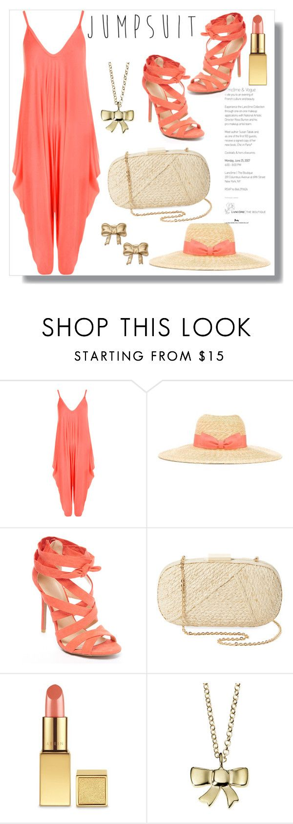 """Coral Jumpsuit"" by queenvirgo ❤ liked on Polyvore featuring WearAll, Lanvin, Wild Diva, Kayu, AERIN and Minor Obsessions"