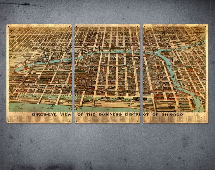 """Old Map of Chicago on METAL -  34"""" x 17"""" Triptych - FREE SHIPPING. $99.00, via Etsy. /// I love these old maps..."""