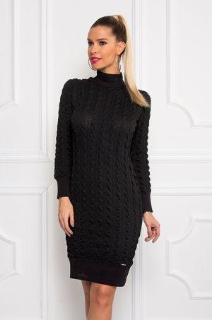 Úpletové šaty z príjemného materiálu s dlhým rukávom, na spodnej časti šiat a na konci rukávov je patent, vhodné na bežný deň.