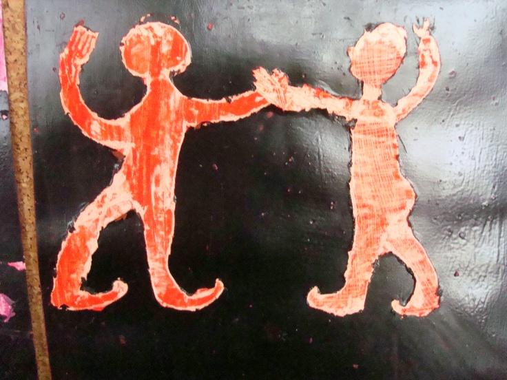 Praca uczennicy inspirowana malarstwem czerwonofigurowym waz greckich.