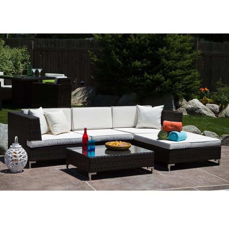 Relax in the outdoors in style with this Miami Beach five-piece seating set. This set includes two corner chairs, an armless chair, an ottoman and coffee table, all made of weather resistant materials for utility.